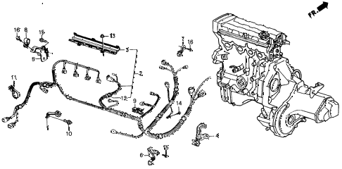 1988 INTEGRA LS 3 DOOR 4AT ENGINE WIRE HARNESS - CLAMP diagram