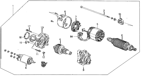 1987 INTEGRA RS 3 DOOR 4AT STARTER MOTOR (MITSUBA) diagram
