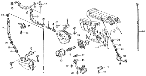 1988 INTEGRA RS 5 DOOR 5MT OIL COOLER - BREATHER TUBE diagram