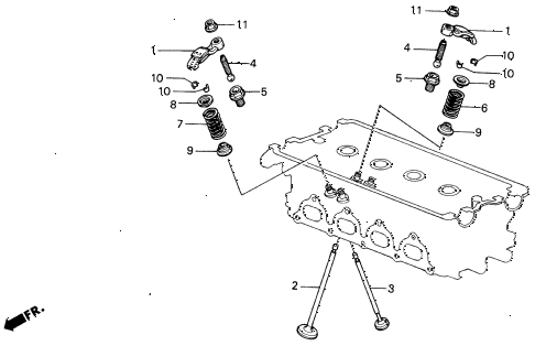 1988 INTEGRA RS 3 DOOR 4AT VALVE - ROCKER ARM diagram