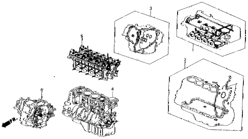 1988 INTEGRA LS 3 DOOR 5MT GASKET KIT - ENGINE ASSY.  - TRANSMISSION ASSY. diagram