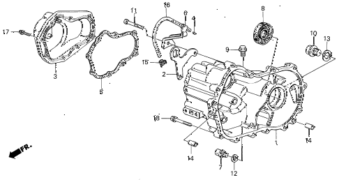 1988 INTEGRA LS 3 DOOR 5MT MT TRANSMISSION HOUSING diagram