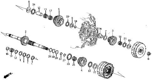 1989 LEGEND ST 4 DOOR 4AT AT MAINSHAFT diagram
