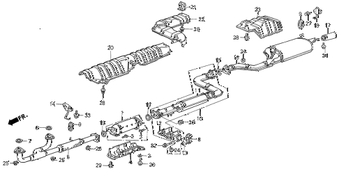 1987 LEGEND RS 4 DOOR 5MT EXHAUST SYSTEM diagram