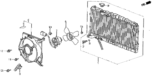 1987 LEGEND RS 4 DOOR 5MT RADIATOR (DENSO) diagram