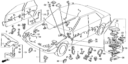 1987 LEGEND RS 4 DOOR 5MT WIRE HARNESS (1) diagram