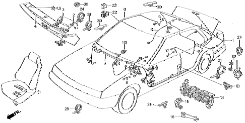 1986 LEGEND LX 4 DOOR 5MT WIRE HARNESS (2) diagram