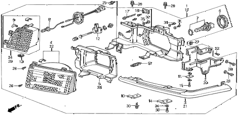 1988 LEGEND ST 4 DOOR 5MT HEADLIGHT (86-88) diagram
