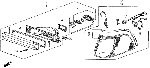 1987 LEGEND RS 4 DOOR 5MT FRONT COMBINATION LIGHT (86-88) diagram