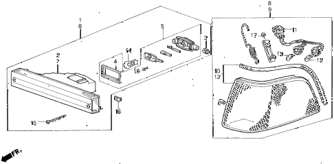 1990 LEGEND ST 4 DOOR 5MT FRONT COMBINATION LIGHT (89-90) diagram