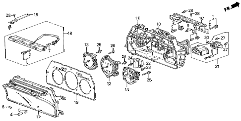 1987 LEGEND RS 4 DOOR 5MT SPEEDOMETER COMPONENTS (86-87) diagram