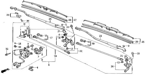 1989 LEGEND ST 4 DOOR 4AT FRONT WINDSHIELD WIPER diagram