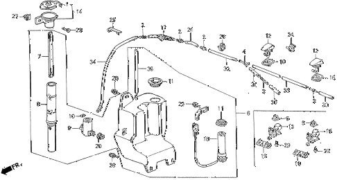 1990 LEGEND LS 4 DOOR 5MT WINDSHIELD WASHER diagram