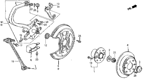 1989 LEGEND L 4 DOOR 5MT REAR KNUCKLE - BRAKE DISK (89-90) diagram