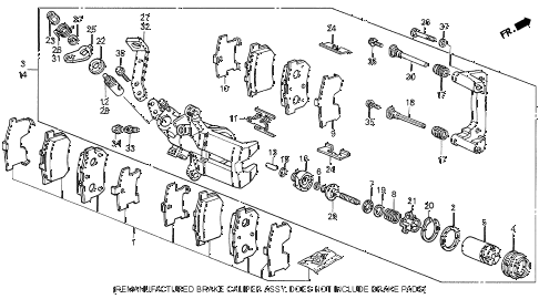 1989 LEGEND L 4 DOOR 5MT REAR BRAKE CALIPER (89-90) diagram