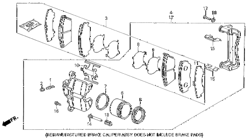1989 LEGEND LS 4 DOOR 5MT FRONT BRAKE CALIPER diagram