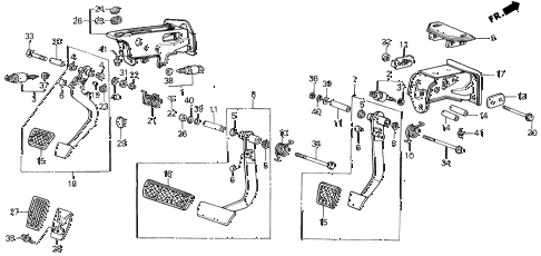 1989 LEGEND ST 4 DOOR 5MT BRAKE @ CLUTCH PEDAL diagram