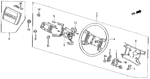 1988 LEGEND L 4 DOOR 5MT STEERING WHEEL (88 STD) (L) diagram