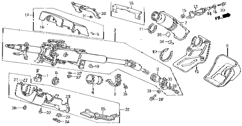 1989 LEGEND LS 4 DOOR 5MT STEERING COLUMN diagram