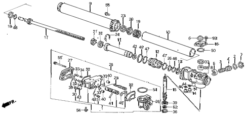 1990 LEGEND L 4 DOOR 5MT P.S. GEAR BOX COMPONENTS diagram