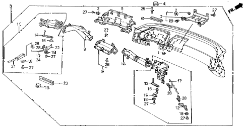 1987 LEGEND LS 4 DOOR 5MT INSTRUMENT PANEL ASSY. diagram
