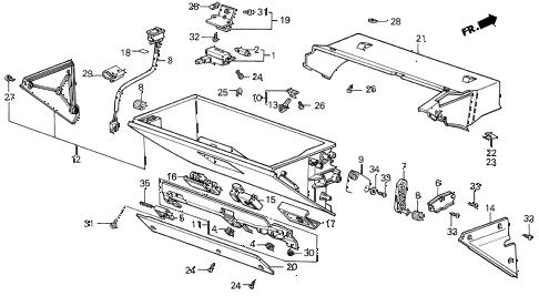 1988 LEGEND LS 4 DOOR 5MT GLOVE BOX COMPONENTS diagram