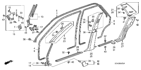 1990 LEGEND LS 4 DOOR 5MT DOOR TRIM diagram