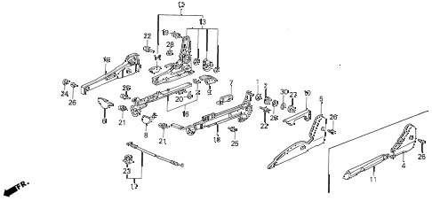 1988 LEGEND LS 4 DOOR 5MT RIGHT FRONT SEAT ADJUSTER (MANUAL) diagram