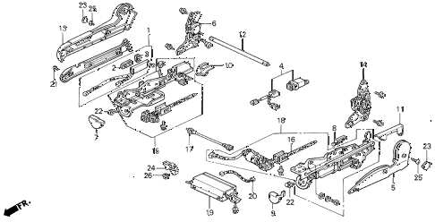 1990 LEGEND LS 4 DOOR 5MT RIGHT FRONT SEAT ADJUSTER (POWER) (89-90) (LS) diagram
