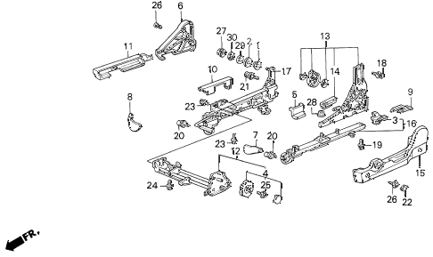 1987 LEGEND RS 4 DOOR 5MT LEFT FRONT SEAT ADJUSTER (MANUAL) (86-87) diagram