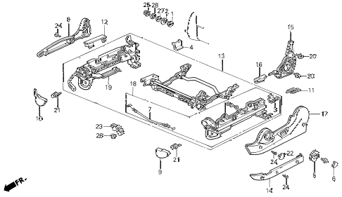 1988 LEGEND ST 4 DOOR 5MT LEFT FRONT SEAT ADJUSTER (MANUAL) (88-90) diagram