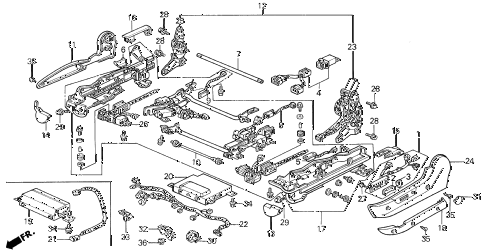 1989 LEGEND L 4 DOOR 5MT LEFT FRONT SEAT ADJUSTER (POWER) (88-90) diagram