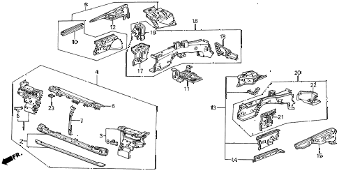 1988 LEGEND LS 4 DOOR 5MT FRONT BULKHEAD diagram