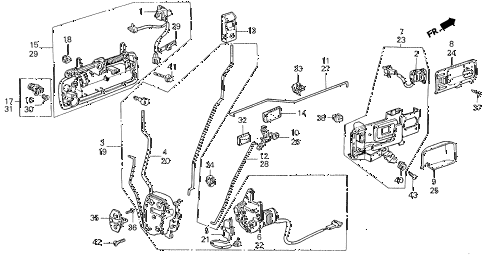1990 LEGEND LS 4 DOOR 5MT FRONT DOOR LOCKS diagram