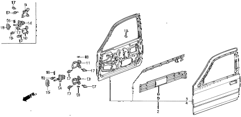 1990 LEGEND L 4 DOOR 5MT FRONT DOOR PANELS diagram