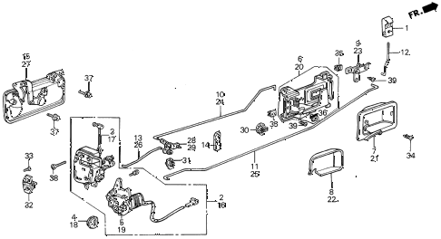 1988 LEGEND ST 4 DOOR 5MT REAR DOOR LOCKS diagram