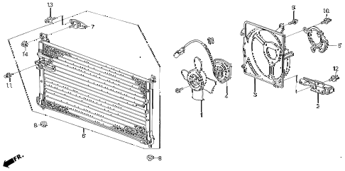 1989 LEGEND ST 4 DOOR 4AT A/C AIR CONDITIONER (CONDENSER) diagram