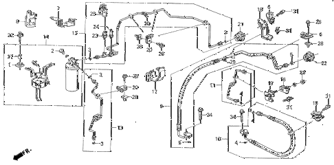 1988 LEGEND ST 4 DOOR 5MT A/C HOSES - PIPES diagram
