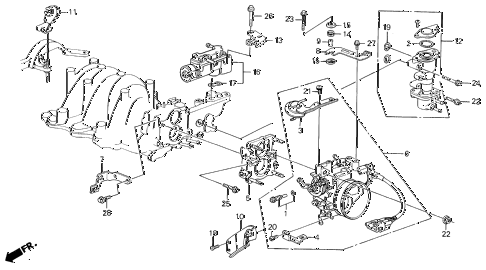 1987 LEGEND LS 4 DOOR 5MT THROTTLE BODY (86-87) diagram