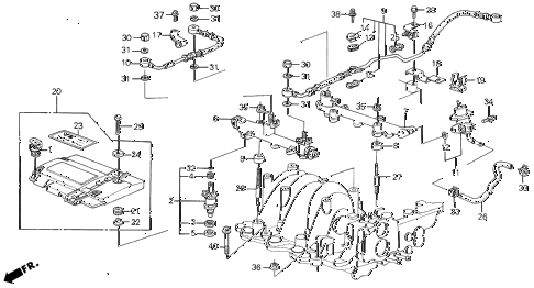 1986 LEGEND LX 4 DOOR 5MT FUEL INJECTOR (86-87) diagram