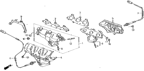 1987 LEGEND RS 4 DOOR 5MT EXHAUST MANIFOLD diagram
