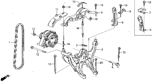 1990 LEGEND ST 4 DOOR 5MT ALTERNATOR BRACKET diagram