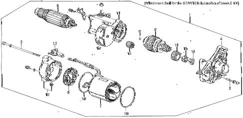 1988 LEGEND ST 4 DOOR 5MT STARTER MOTOR (DENSO) diagram