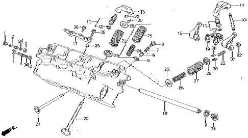 1989 LEGEND ST 4 DOOR 4AT VALVE - ROCKER ARM (RR.) diagram