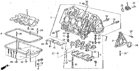 1986 LEGEND LX 4 DOOR 5MT CYLINDER BLOCK diagram