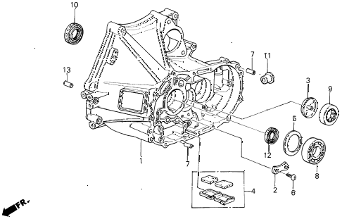 1990 LEGEND ST 4 DOOR 5MT MT CLUTCH HOUSING diagram