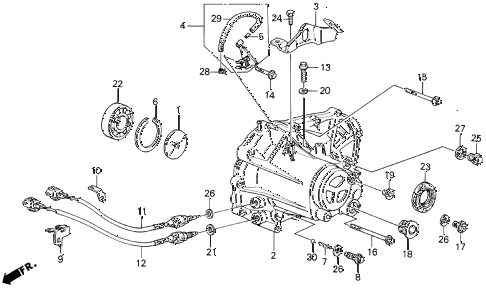 1989 LEGEND L 4 DOOR 5MT MT TRANSMISSION HOUSING diagram