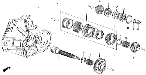 1988 LEGEND L 4 DOOR 5MT MT COUNTERSHAFT diagram