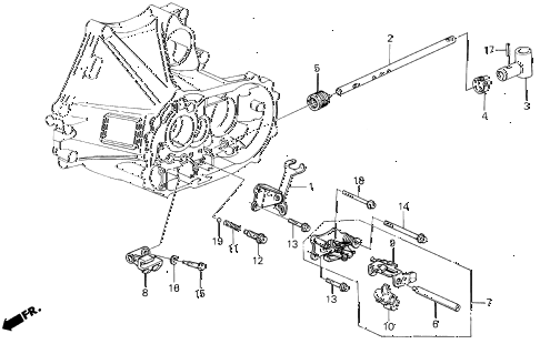 1990 LEGEND ST 4 DOOR 5MT MT SHIFT ROD - SHIFT HOLDER diagram