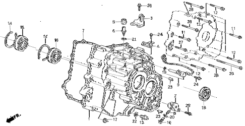 1990 LEGEND STD 2 DOOR 5MT AT TRANSMISSION HOUSING diagram